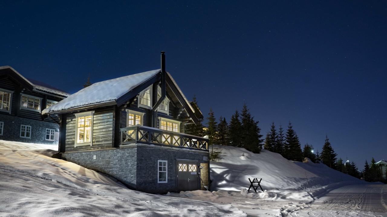 Anneks vinterfasade på Mosetertoppen Panorama